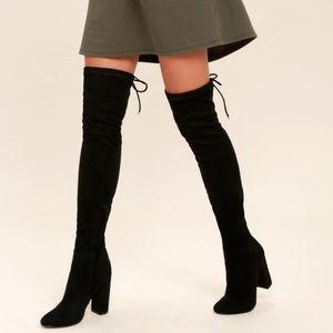 Lulus Night Walker Black Suede Knee High Boots